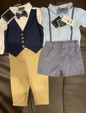 Baby boy NEW With tags each retails around $50 classic spacial occasion suit with bow 6-9 and 9-12 months for Sale in Glendale, CA