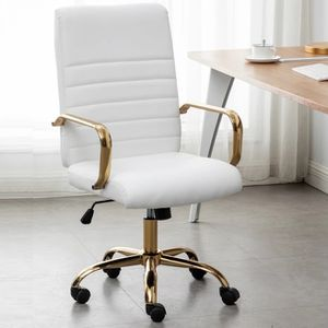 Ergonomic White Faux Leather Adjustable Home Office Arm Chair Golden Finish Vanity Chair Office Chair Desk Make-up Rolling Chair for Sale in La Habra, CA