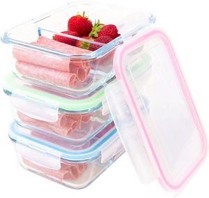 Glass Food Storage 2 Compartment Containers - Meal Prep Container Set with BPA-Free Airtight Locking Lids - Oven Microwave Freezer Safe - Portion Cont for Sale in McCalla, AL