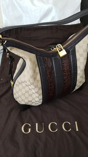 Gucci Beige GG Canvas brown Crocodile trim HoBo Bag for Sale in Rancho Cucamonga, CA