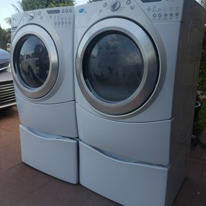 WHIRLPOOL DUET WASHER AND ELECTRIC DRYER SUPERCAPACITY WITH PEDESTALS INCLUDED for Sale in Hialeah, FL