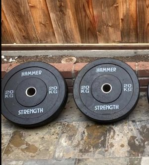 Low priced All new ~45lb (20kg) HAMMER STRENGTH Olympic Bumper plate for Sale in Daly City, CA