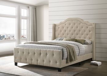 BEIGE FABRIC FULL OR QUEEN SIZE BED FRAME TUFTED NAILHEAD ACCENTS - CAMA for Sale in Pico Rivera,  CA