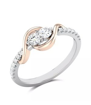 Two Tone Silver Luxury Ring Cubic Zircon Wedding Ring Size 8 With Ring Box for Sale in Aldie, VA