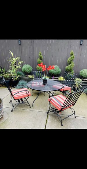 5 Pieces Outdoor Patio Iron Furniture Set (4 Rock-able Chairs + Round Table) for Sale in Renton, WA