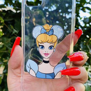 Brand new cool iphone 7, 8 or 2020 SE case cover rubber silicone Clear transparent see through CINDERELLA Princess Disney Disneyland Womens Girls for Sale in San Bernardino, CA