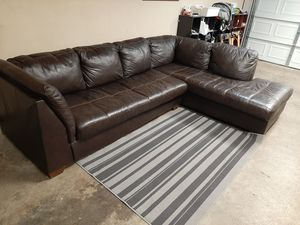 Beautiful real leather sectional couch for Sale in Renton, WA