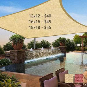 New 16x16 ft Patio Pool Sunshade Sail Shade Mesh Cover Sun Screen (ROPES AND HOOKS INCLUDED) for Sale in Riverside, CA