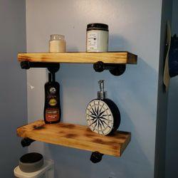 "16"" Iron Pipe Floating Wooden Shelf for Sale in Norfolk,  VA"