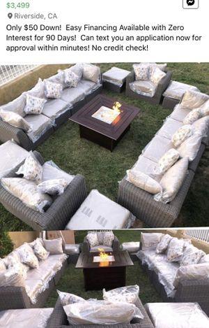 brand new wicker patio set fire pit propane Sunbrella cushions for Sale in Riverside, CA