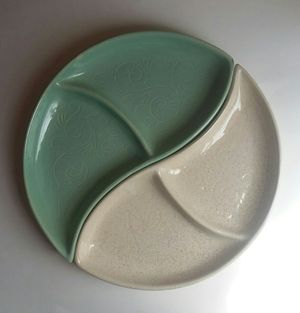 Vintage Mid Century McCoy Yin Yang Divided 2 Pc. Dish for Sale in Hudson, FL