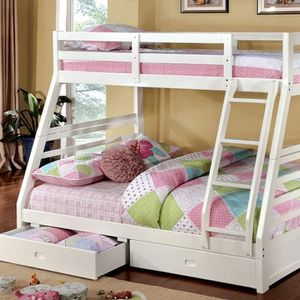 WHITE FINISH TWIN OVER FULL SIZE BUNK BED DRAWERS for Sale in Riverside, CA