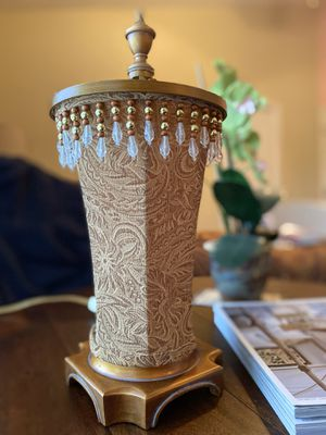 "Beautiful 16"" Lamp with Brocade Shade Trimmed with Beads, for Bedroom or Living Room, Mood Lighting!! for Sale in Valrico, FL"