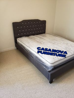 BRAND NEW BED FRAME QUEEN COMES IN BOX WITH EURO PILLOW TOP MATTRESS INCLUDED $280📢📢📢📢📢📢AVAILABLE FOR SAME DAY DELIVERY OR PICK UP for Sale in Compton, CA