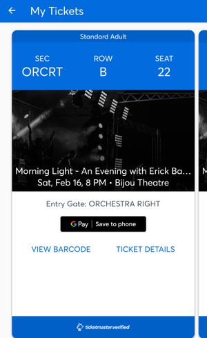 Reduced Price!!! Erick Baker @ The Bijou on February 16 for Sale in KIMBERLIN HGT, TN