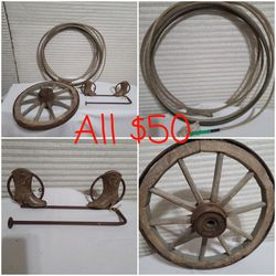 Western Decor... Antique Wagon Wheel... Lasso.. Paper Towel Or Towel Holder for Sale in Grand Prairie,  TX