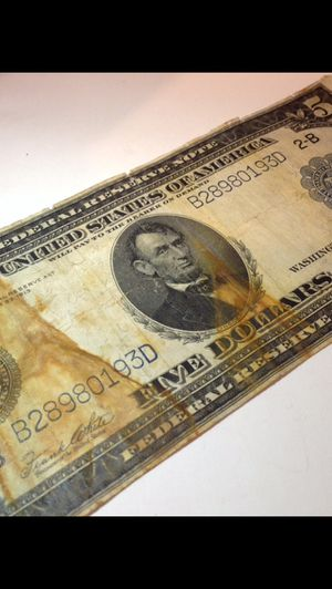 RARE Original 1914 $5 Bill- High Grade Extremely Fine Details W/ Stains- Scarce Antique Currency! for Sale in Fairfax, VA