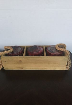 "3 Candle Holder With Wood Box - 4.5""H x 16""W x 5.5""D for Sale in Mansfield, TX"