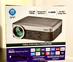 ONN 1080p Native 1920X1080 Portable Projector with Roku Stick ONA19AV901 for Sale in Roselle, NJ