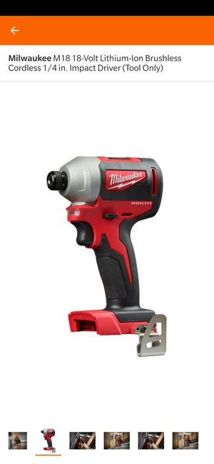 Milwaukee M18 18-Volt Lithium-Ion Brushless Cordless 1/4 in. Impact Driver (Tool Only) for Sale in Clarksburg, MD