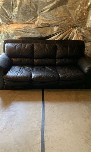 Black leather couch for Sale in Frederick, MD