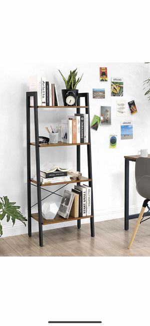 Industrial Ladder Shelf, 4-Tier Bookshelf, Storage Rack Shelves, Bathroom, Living Room, Wood Look Accent Furniture, Metal Frame, Rustic Brown for Sale in Eastvale, CA