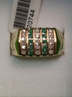 Solid 10kt gold diamond & emerald ring for Sale in Fort Myers, FL