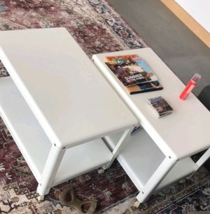 Two metal coffee tables with wheels, $30 for both for Sale in Detroit, MI