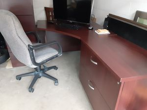 Wood office desk chair and cabinet for Sale in Winter Garden, FL