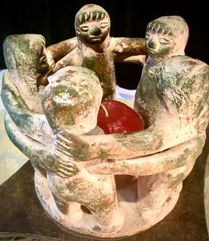 Hand made pottery art Circle of 5 Friends, candle holder H7xW8 inch for Sale in Chandler, AZ