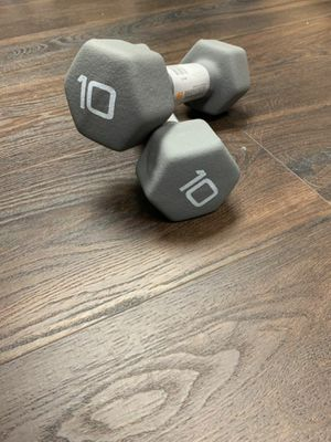 (2) NEW CAP 10 LB Pound Dumbbells Pair Rubber Neoprene Hex Weights 20LB TOTAL for Sale in Glenarden, MD