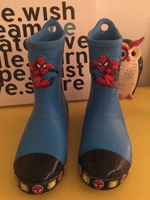 Kids Spiderman crocs rain boots. Color: Ocean Blue. Size: J1 for Sale in North Miami Beach, FL