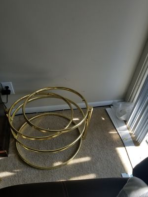 gold metal and clear glass table one table that opens into 3 coffee end side table. for Sale in Germantown, MD
