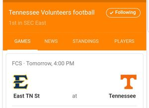UT- ETSU FOOTBALL TICKETS for Sale in Knoxville, TN
