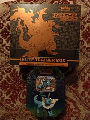 Pokemon Champion's Path ETB with Vaporeon GX Tin Cosmic Eclipse and Burning Shadows for Sale in El Monte, CA