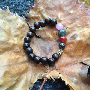 Wood bead and natural gemstone bracelet for Sale in Hialeah, FL