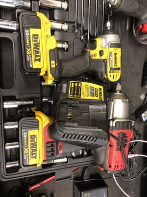 Dewalt 3/8 and Mac Tools 1/2 inch power drives comes with 2 batteries and charger for Sale in Avondale, AZ