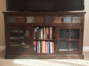 Wood and tile accent TV stand entertainment center for Sale in Clovis, CA