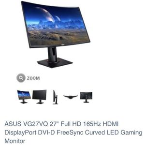 "Gaming monitor ASUS VG27VQ 27"" 165Hz Curved for Sale in New York, NY"