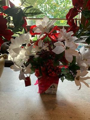 Handmade Poinsettia flowers in ceramic pot for Sale in Milford, CT