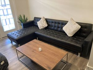 Convertible leather sofa sleeper sectional for Sale in Herndon, VA