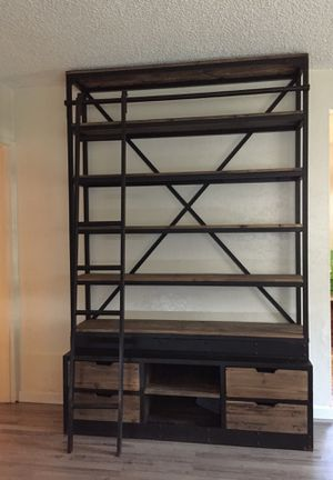 RESTURATION HARDWARE LIBRARY BOOK SHELF WITH LADDER for Sale in Long Beach, CA