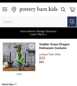 Pottery Barn Toddler Dragon Costume 3T for Sale in Rancho Cucamonga, CA