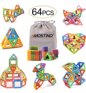 Magnetic Blocks for Kids, Magnetic Tiles Building Blocks Set STEM Educational Toys for Boys and Girls with Storage Bag - 64pcs for Sale in Piscataway, NJ