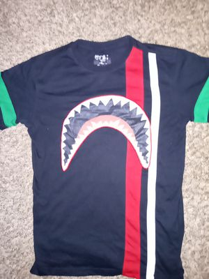 Medium, BAPE black T shirt with green, white and red stripes for Sale in Tacoma, WA