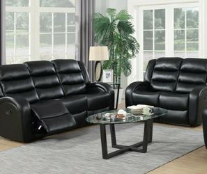 💥Oniks Black Reclining Sofa & Loveseat & Recliner | U9400 by Global for Sale in Philadelphia,  PA