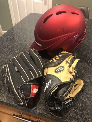 Kids baseball helmet and gloves for Sale in East Taunton, MA