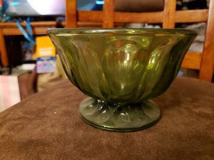 Vintage green glass candy dish with base for Sale in Cuyahoga Falls, OH