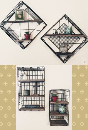 Custom Made Rusty Wire Basket & Barn Wood Shelves for Sale in Maple Valley, WA