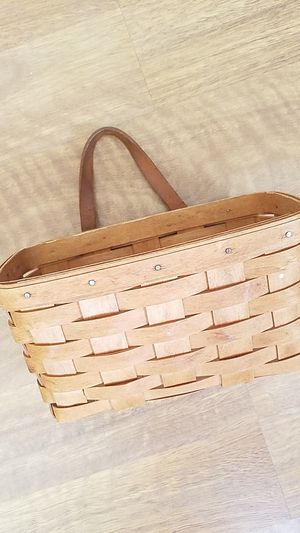 Longaberger Basket, leather handle for Sale in Roanoke, VA